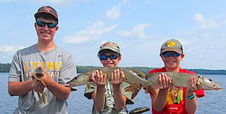 Triple Northern Pike catch Fishing by Zack, Tyler, Jordan at Fireside Lodge